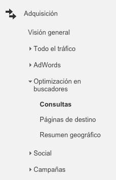 Metricas SEO para saber tu posicionamiento web: Consultas de keywords en Google Analytics