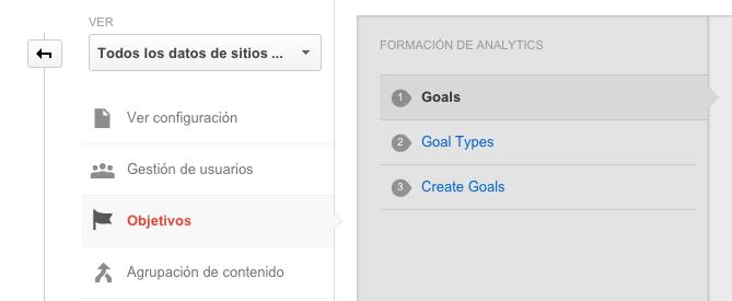 Métricas SEO importantes para medir tu posicionamiento web: Crear objetivos en Google Analytics