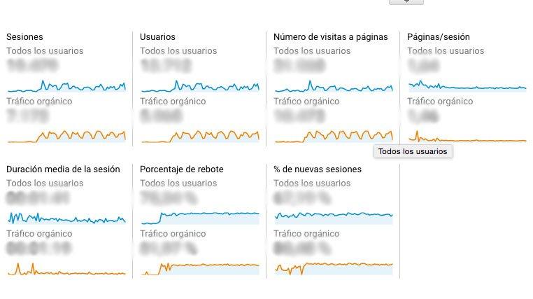 Metricas SEO para saber tu posicionamiento web: segmento trafico organico google analytics