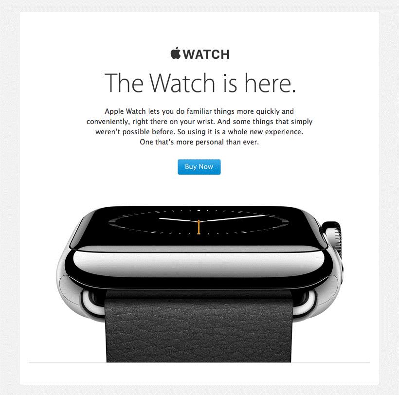 razones para hacer email marketing ejemplo Apple Watch