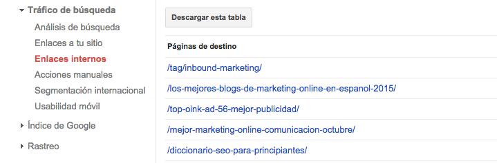 Cómo analizar los enlaces internos en Search Console de Google