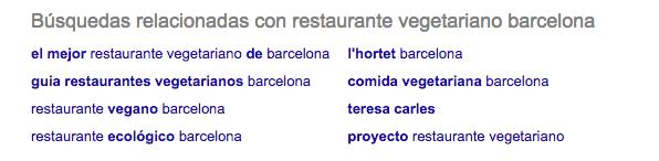 Cómo buscar palabras clave para tu blog - Búsquedas relacionadas Google - restaurante vegetariano Barcelona
