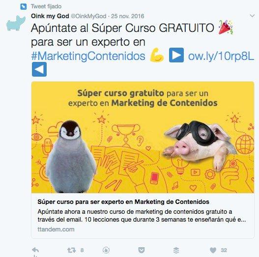 Las mejores Tácticas Growth HackingTweet: fijado en el Twitter de Oink my god