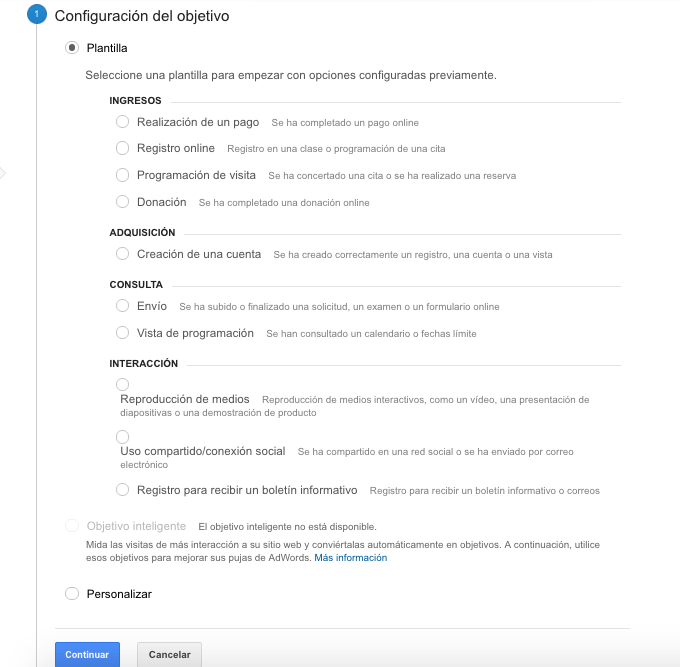 configuración objetivo google analytics