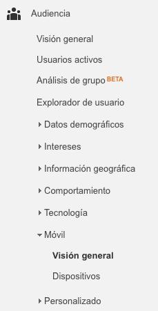 Informes de Google Analytics para Marketeros dispositivos móviles