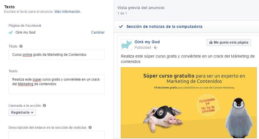 Crear campaña de Facebook Lead Ads. Crear anuncio