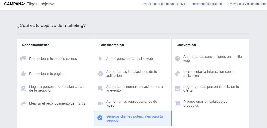 Crear campaña de Facebook Lead Ads. Generar Clientes Potenciales