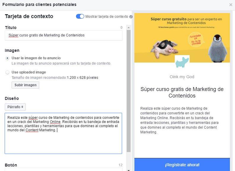 Campaña de Facebook Lead Ads. Crear Formulario para clientes potenciales