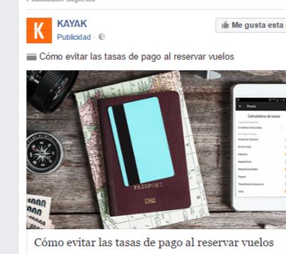 Anuncio de Facebook Ads Kayak