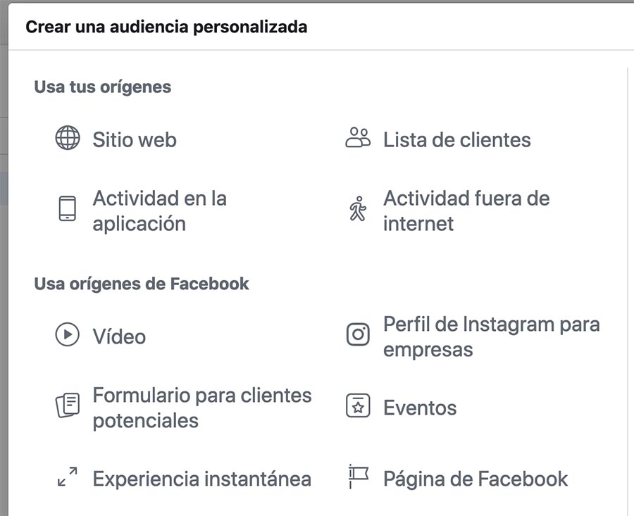 crear audiencia personalizada facebook ads instagram ads