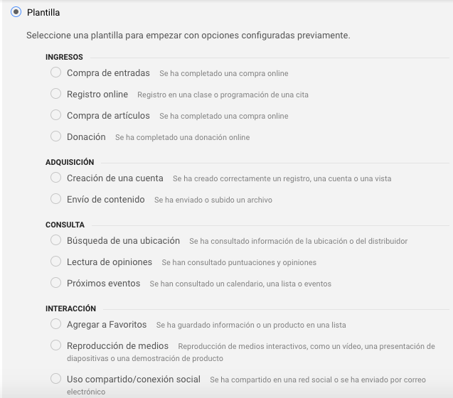 plantillas objetivos en google analytics