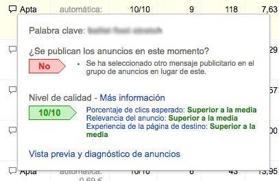 Cómo mejorar el Nivel de Calidad palabras clave google adwords
