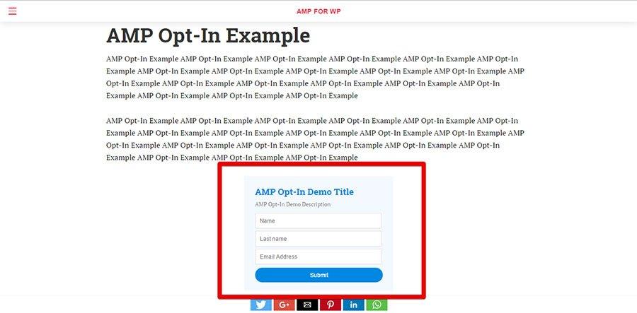 Ejemplo de formulario de suscripción del plugin AMP Optin