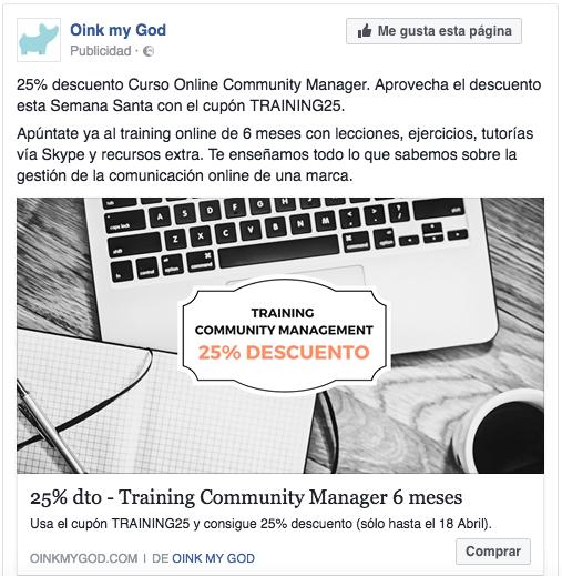 Tácticas de remarketing en Facebook Ads. Anuncio training oink my god