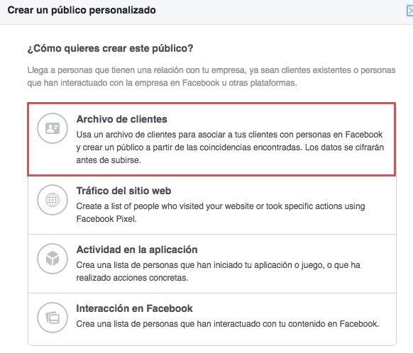 Tácticas de remarketing en facebook ads. Archivo de clientes
