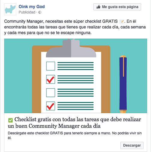 Tácticas remarketing en Facebook Ads. Ejemplo anuncio facebook lead ads