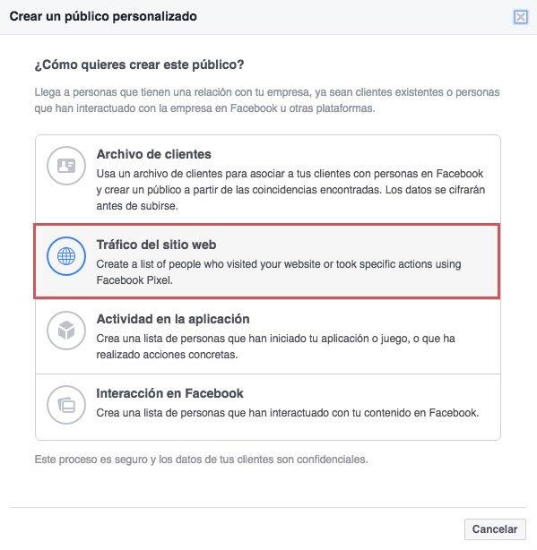 Tácticas de remarketing en facebook ads. Tráfico del sitio web