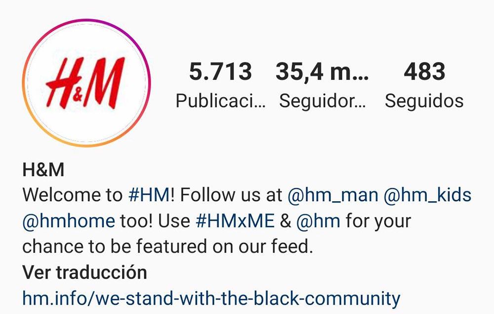 perfil hm instagram