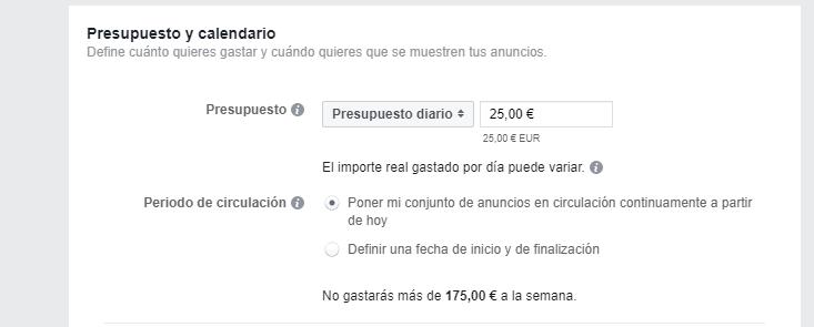 Presupuesto para Facebook Ads
