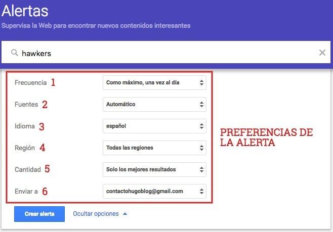 tutorial google alerts preferencias de alerta