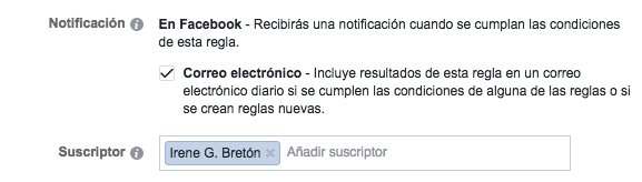 reglas automatizadas de Facebook Ads notificación