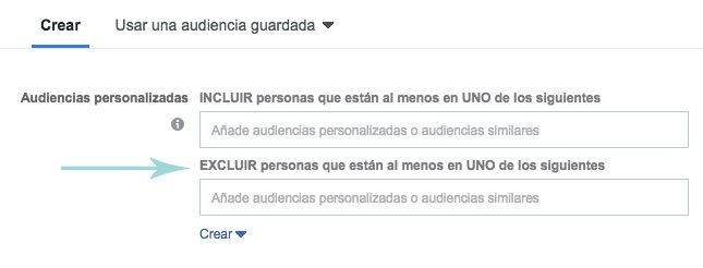 segmentacion facebook ads excluir audiencias