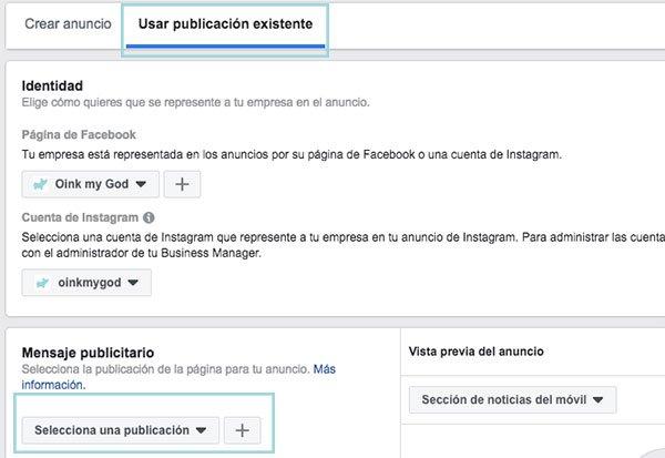 usar publicacion existente anuncio facebook ads