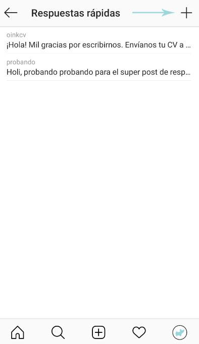 boton + configuracion crear respuestas rápidas instagram