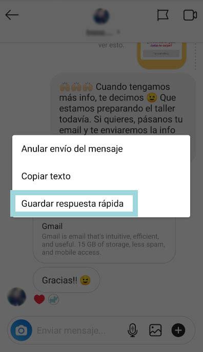 como guardar respuesta rapida de instagram
