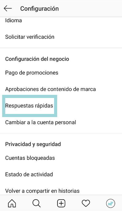 configuracion perfil respuestas rapidas de instagram