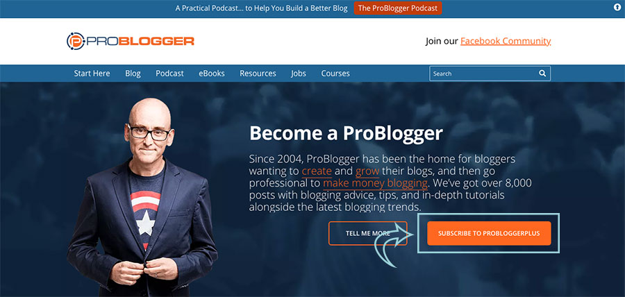 call to action home page problogger