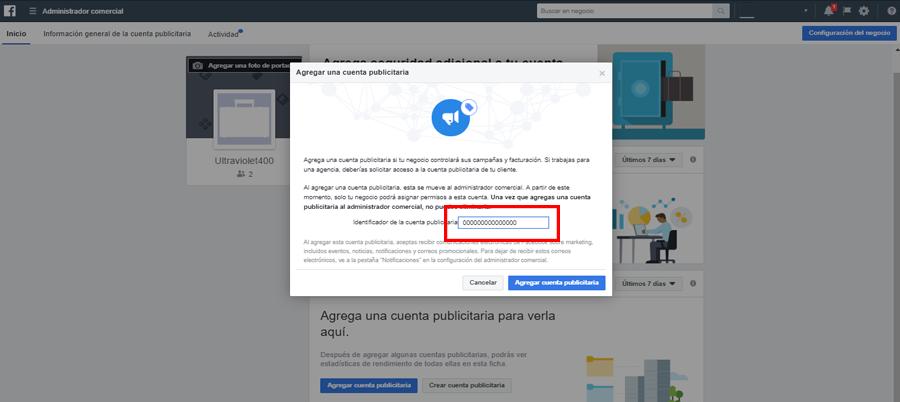 facebook business manager agregar cuenta publicitaria