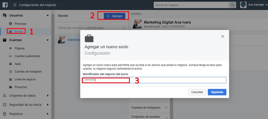 facebook business manager agregar nuevo socio