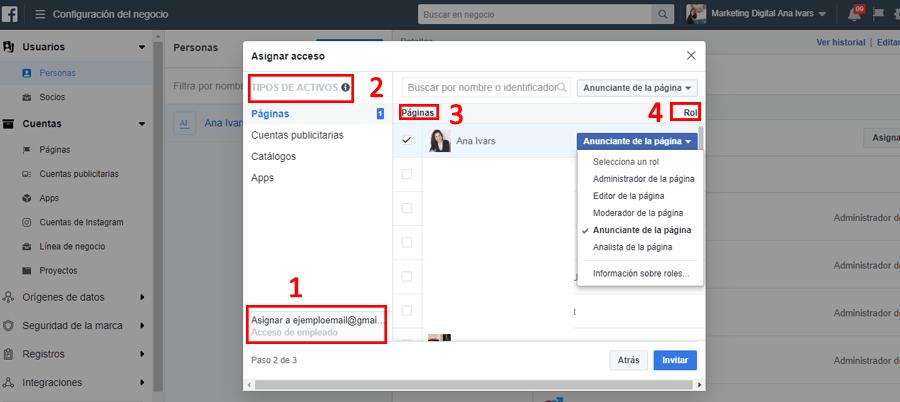 facebook business manager asignar roles