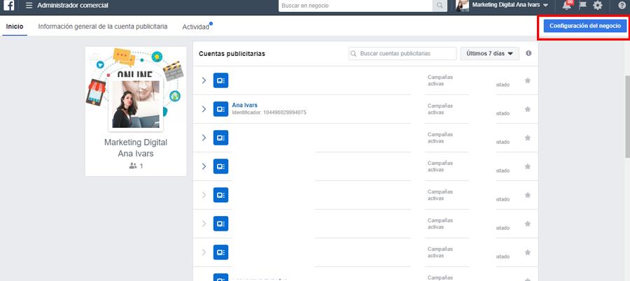 facebook business manager boton configuracion del negocio
