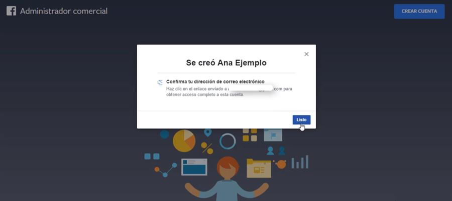 facebook business manager confirmar direccion de correo electronico