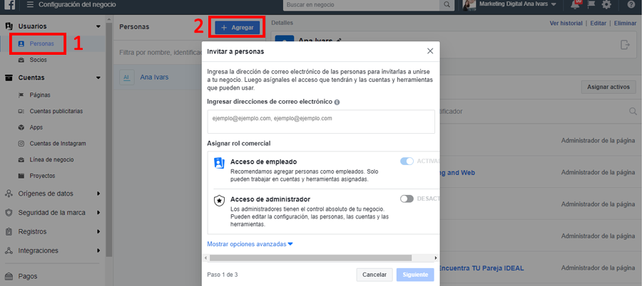 facebook business manager invitar a personas