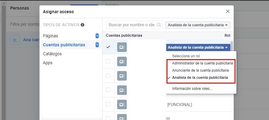 facebook business manager roles cuenta publicitaria