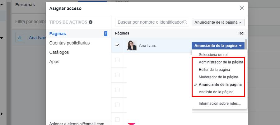 facebook business manager roles pagina facebook
