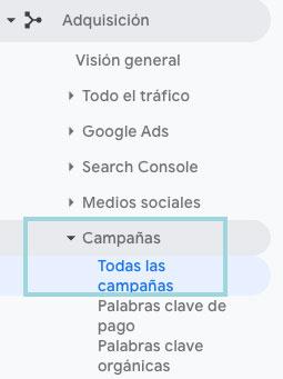 google analytics adquisicion campañas todas las campañas