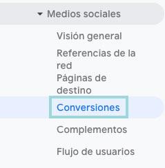 menu conversiones medios sociales