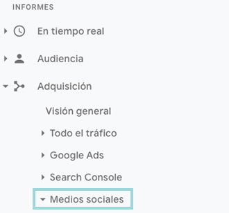 menu social google analytics