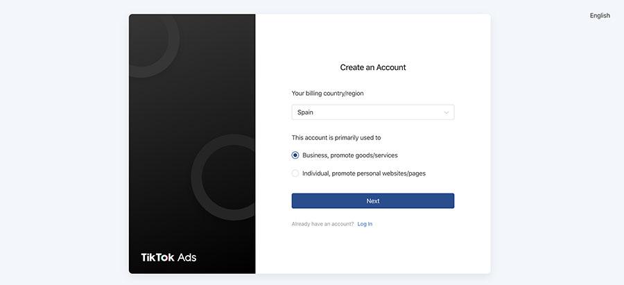 publicidad tiktok ads crear cuenta