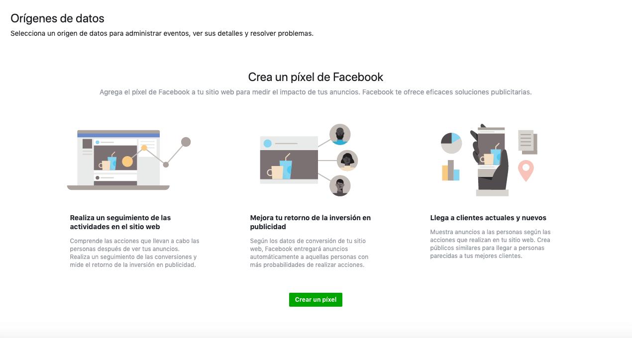 crea un pixel de Facebook