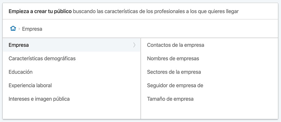 segmentacion audiencia linkedin ads