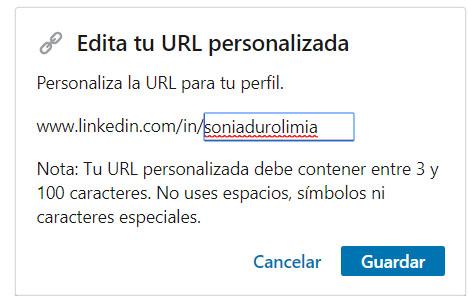 LinkedIn URL personalizada