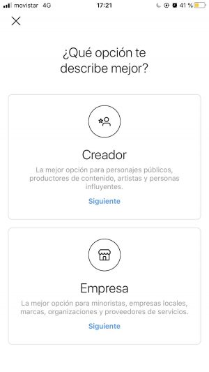 instagram creador empresa