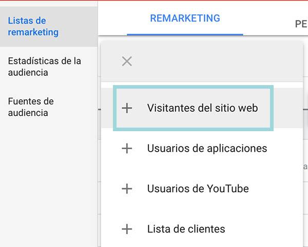 crear lista de remarketing google ads