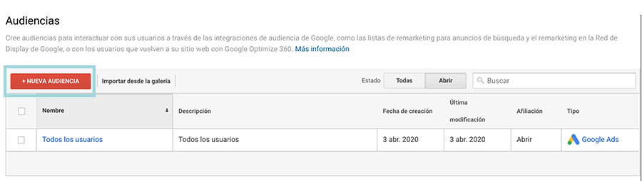 google analytics crear audiencia