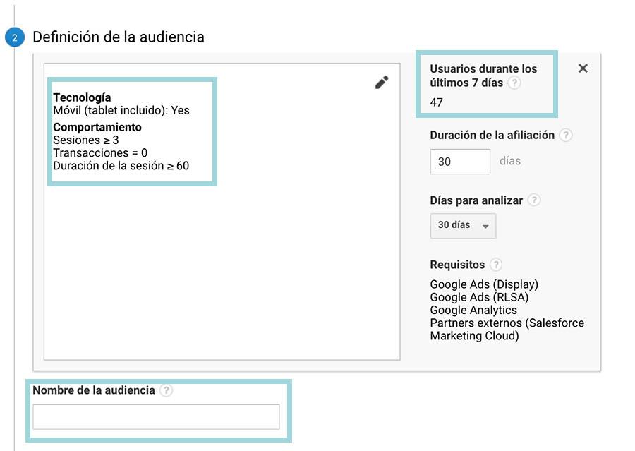 google analytics ejemplo audiencia